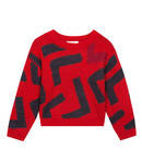 Sparkling knitted jumper with a large abstract motif