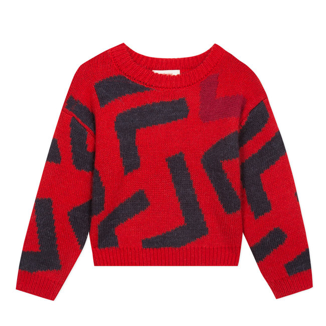 CATIMINI Sparkling knitted jumper with a large abstract motif