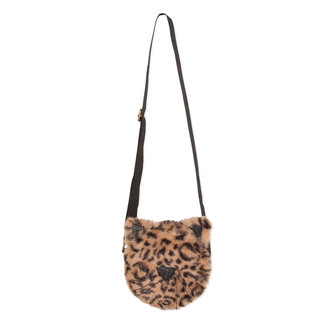 """Round """"panther"""" bag with fur and sequins"""
