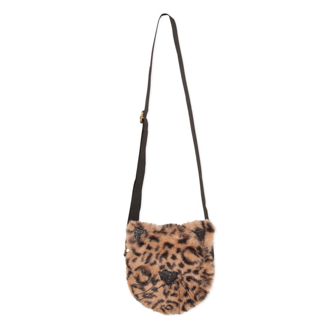"Round ""panther"" bag with fur and sequins"