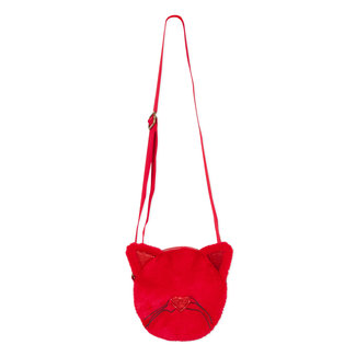 """Round """"cat"""" bag with red fur and sequins"""