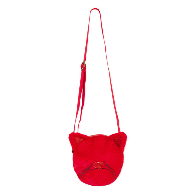 "Round ""cat"" bag with red fur and sequins"