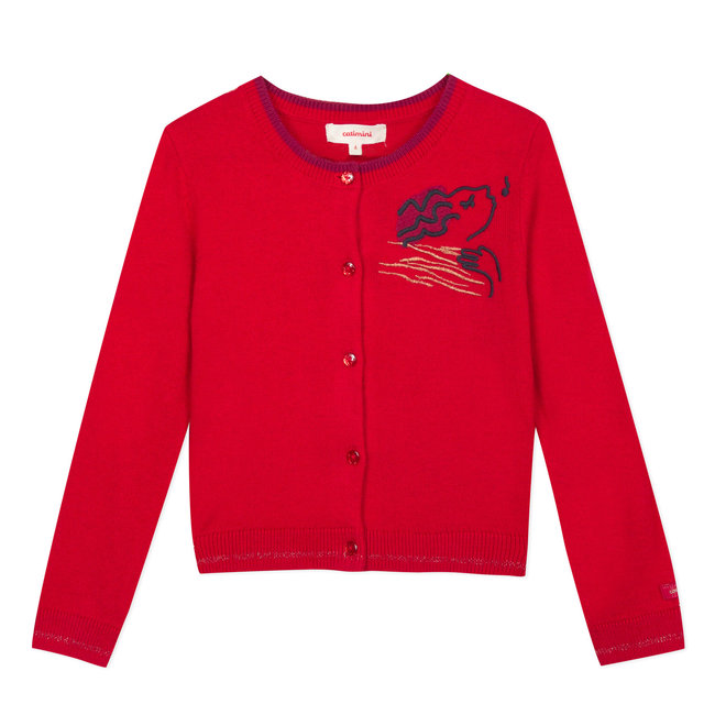 Red knitted cardigan with velvet embroidery