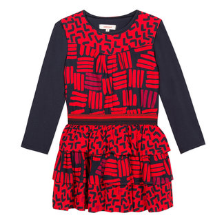 Printed viscose and T-shirt dress with multiple frills