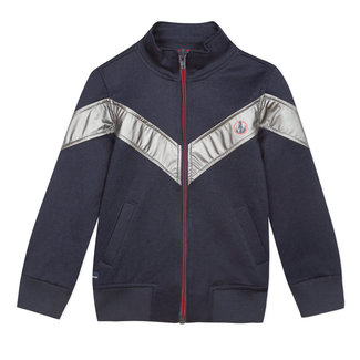 Piqué knit zipped sweatshirt with metallic tape details