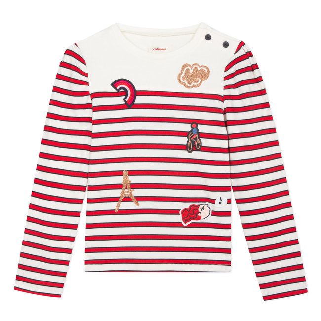 Nautical stripe T-shirt with badges