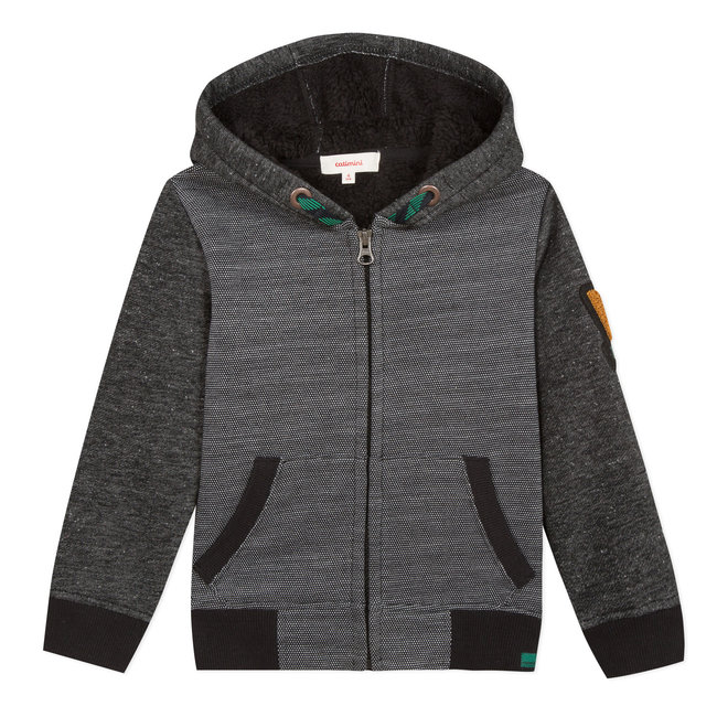 Multi-fabric fur-lined zipped sweatshirt