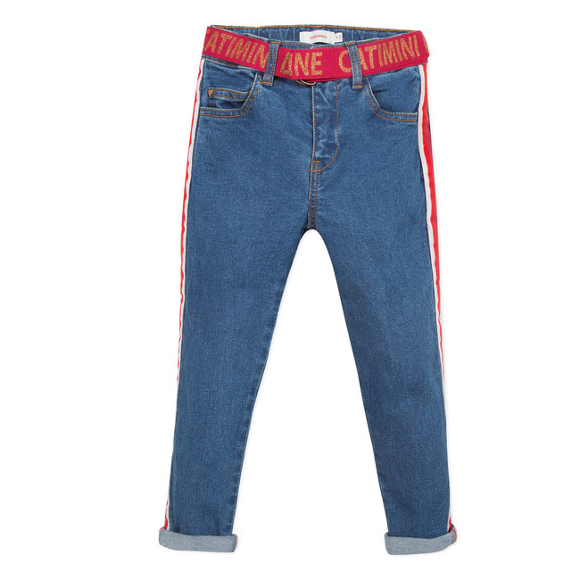 CATIMINI Mom jeans with belt and tape details