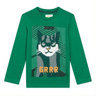 Lichen green T-shirt with cat motif