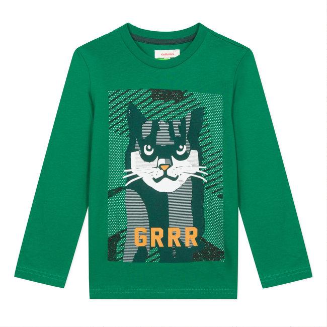 Lichen green T-shirt with cat motif