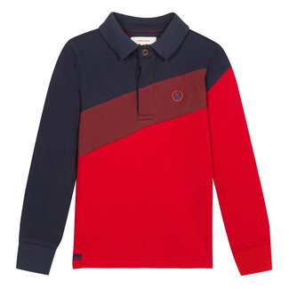 Jersey and piqué polo in red and navy colour blocks