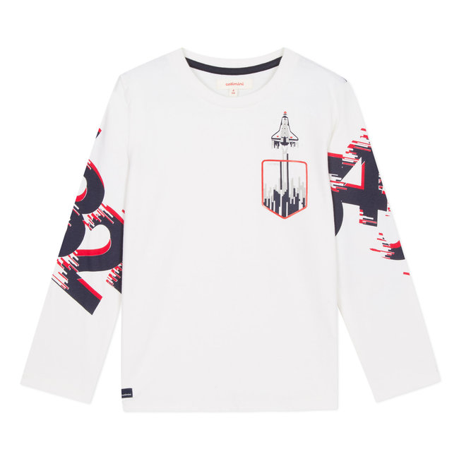 CATIMINI Ivory T-shirt with space rocket motifs