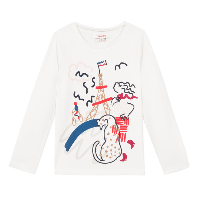 Ivory T-shirt with 'Pretty in Paris' image