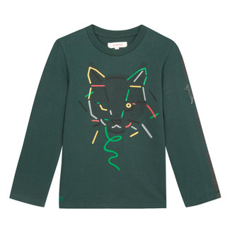 Imperial green T-shirt with a cat motif and tape