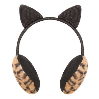 Headband-earmuffs with fake fur and cat sequined ears