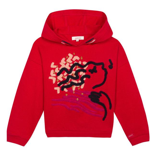 Fleece sweatshirt with velvet embroidery