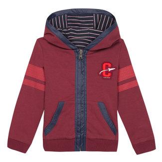 CATIMINI Double-sided striped interlock and garnet fleece zipped sweatshirt
