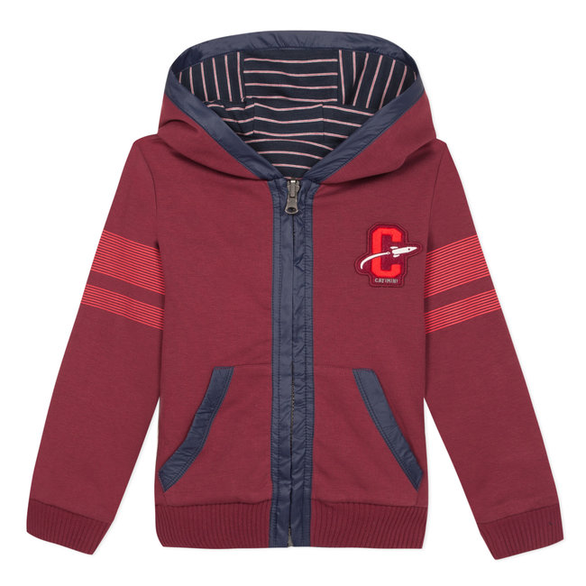 CATIMINI Double-sided striped interlock and garnet fleece zipped sweatshirt