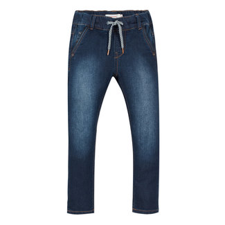 Denim blue knit jeans with an elasticated waist