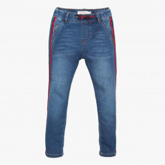Blue stone denim knit jeans with tape details