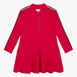 Zipped red dress in a Milano knit with tape details