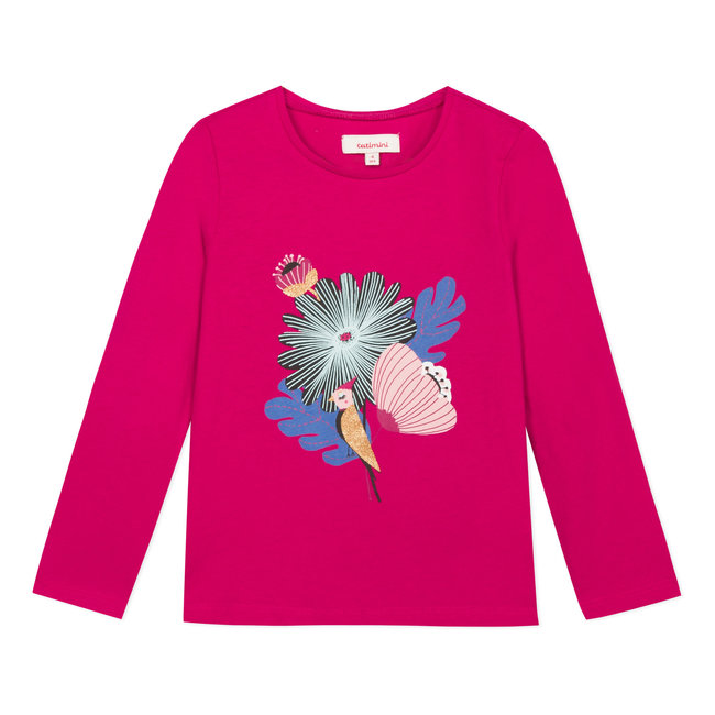 Fuchsia T-shirt with floral pattern