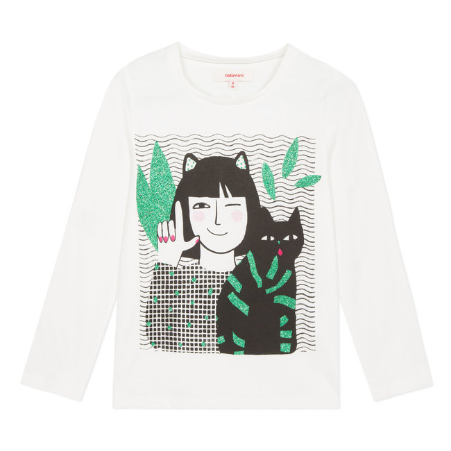 T-shirt with glitter cat design