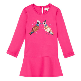 CATIMINI Fuchsia milano dress with eye-catching sequin birds