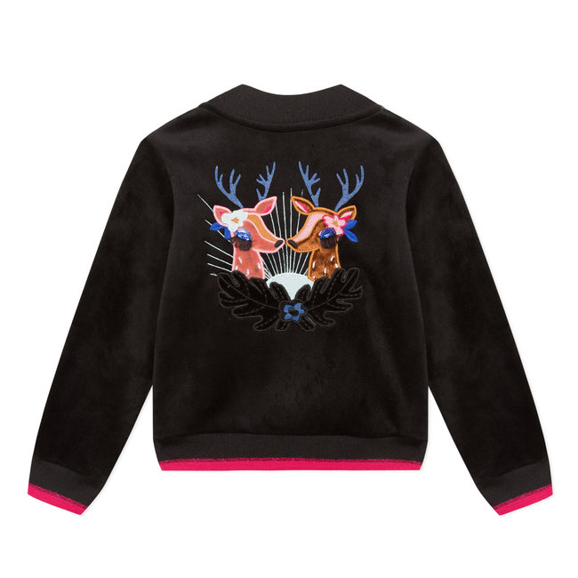 CATIMINI Black velvet jacket with eye-catching deer on the back