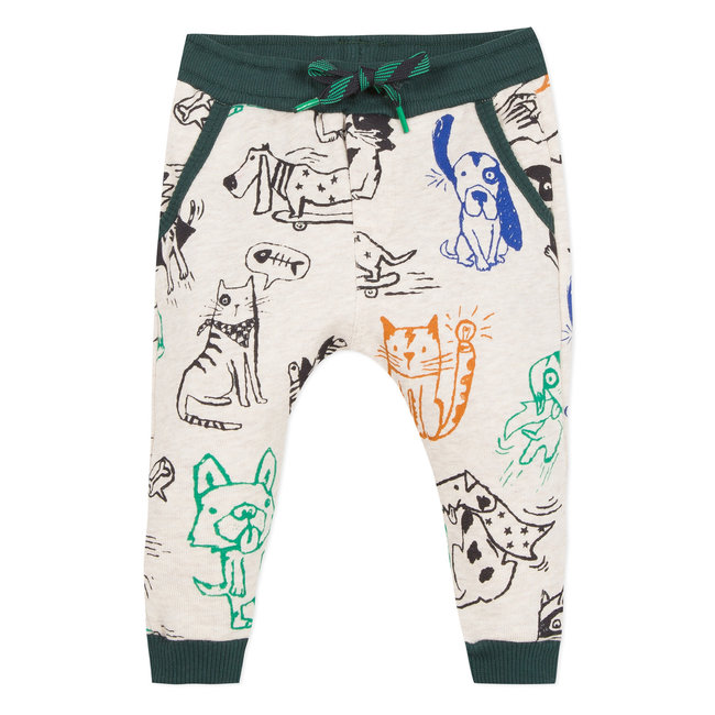 Jogging fleece with dogs & cats print