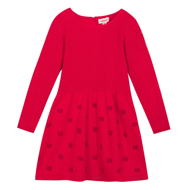 Red sweater dress with shiny micro-motifs