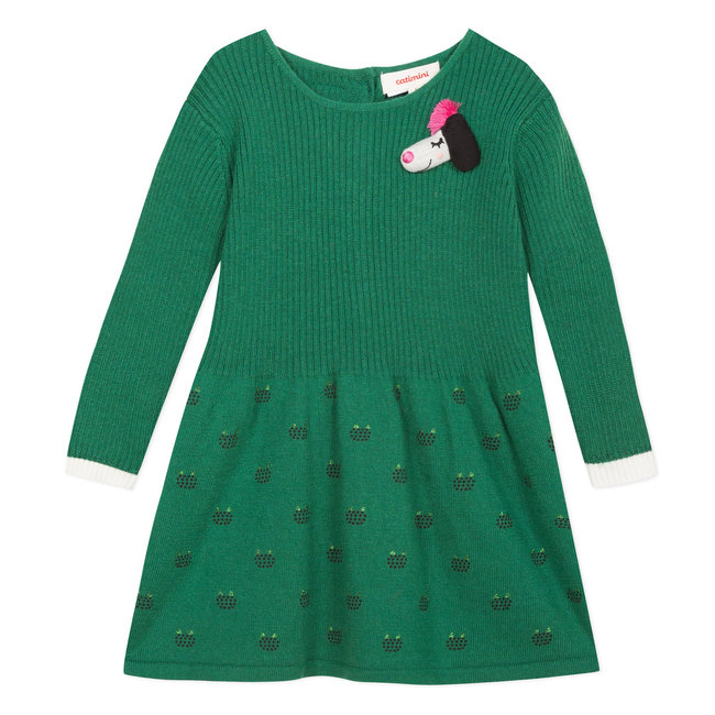 Boxwood green sweater dress with shiny micro-motifs