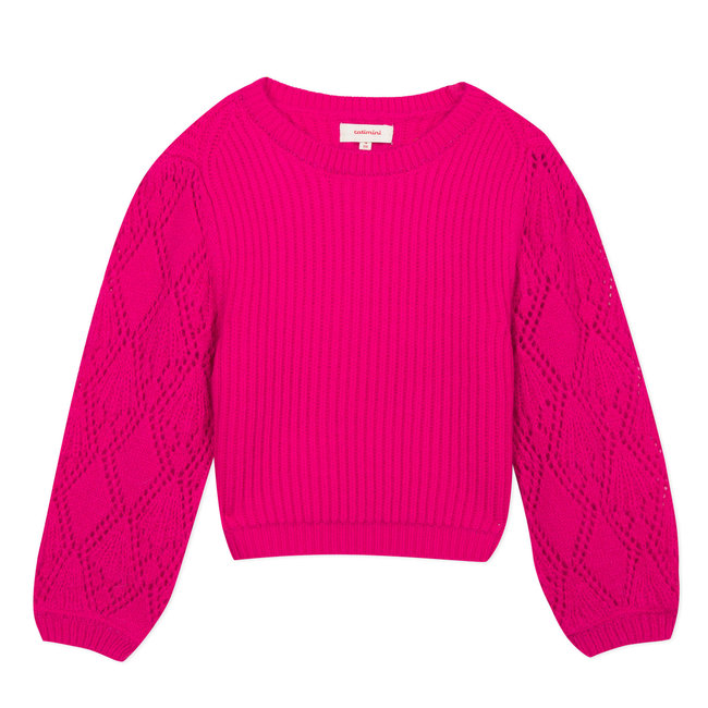 CATIMINI Fuchsia multi knit pullover with openwork sleeves