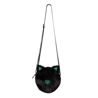 "Round ""cat"" bag with black fur and green glitter"