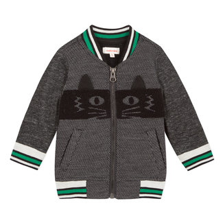 Teddy zipped quilted fleece with cat pattern