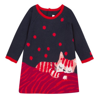 Jacquard sweater dress with large cat image