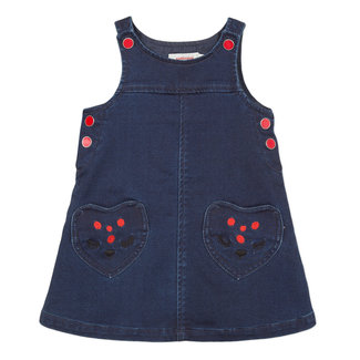 Denim knit dress with smiley face pockets