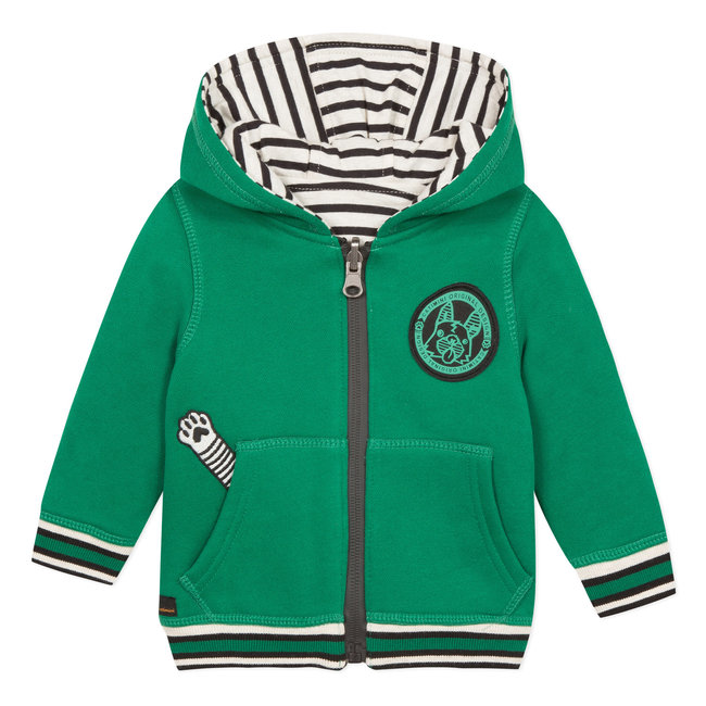 Green and striped reversible hoodie