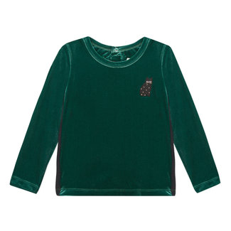 CATIMINI Bottle green crushed velvet T-shirt
