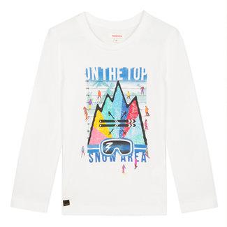 White visual colorama ski T-shirt