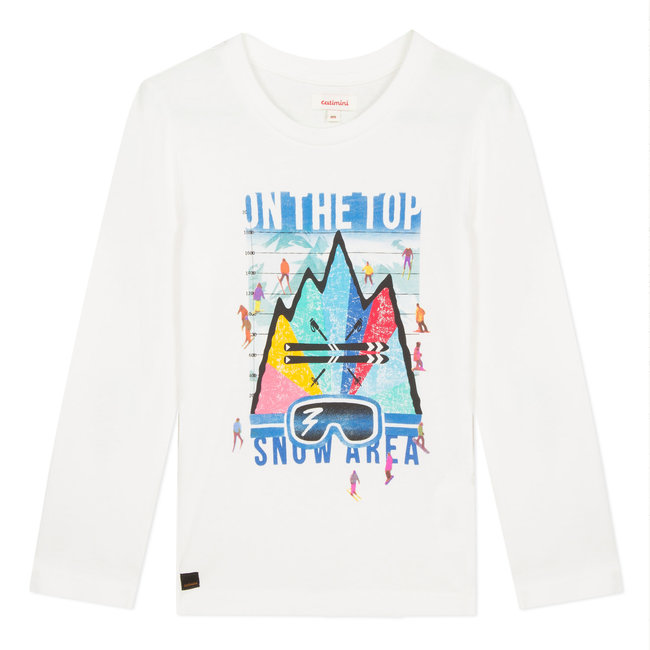 White visual colorama ski T-shirt