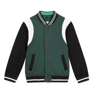 Green colourblock fleece teddy jacket