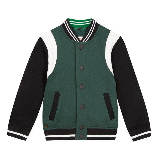 Green colourblock fleece teddy jacket