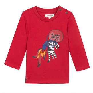 Red T-shirt with an astronaut tiger motif