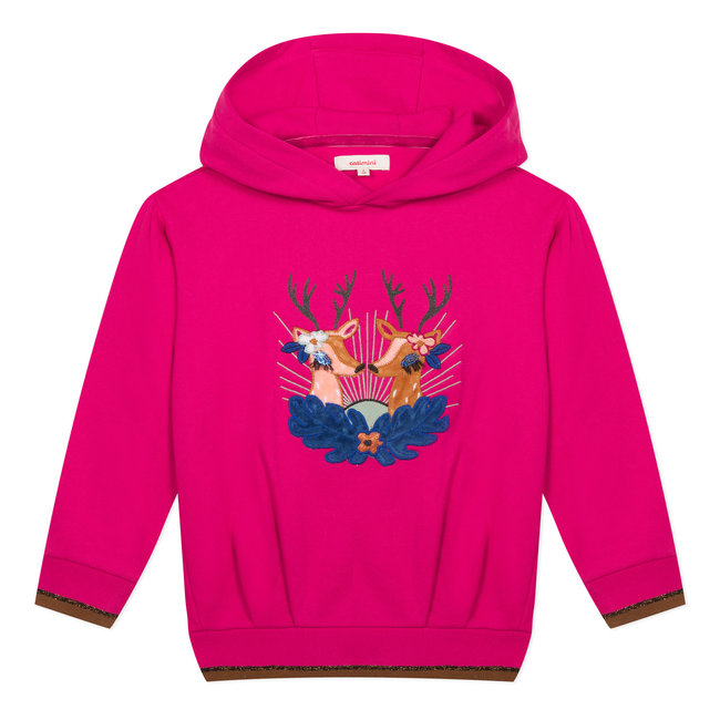 Eye-catching fuchsia fleece sweatshirt with deer
