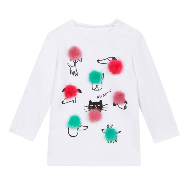 Cats&Dogs T-shirt with fur pompoms