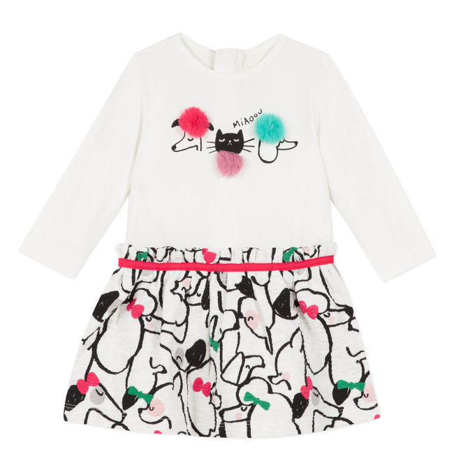 Two-material jersey and tubular knit dress with cats&dogs print