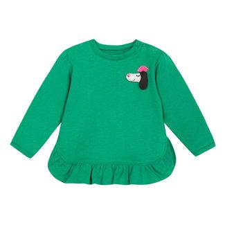 CATIMINI Lightweight green fleece sweatshirt with frills