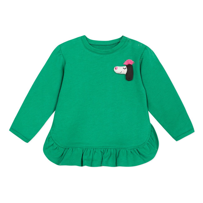 CATIMINI Lightweight green fleece sweatshirt with frills
