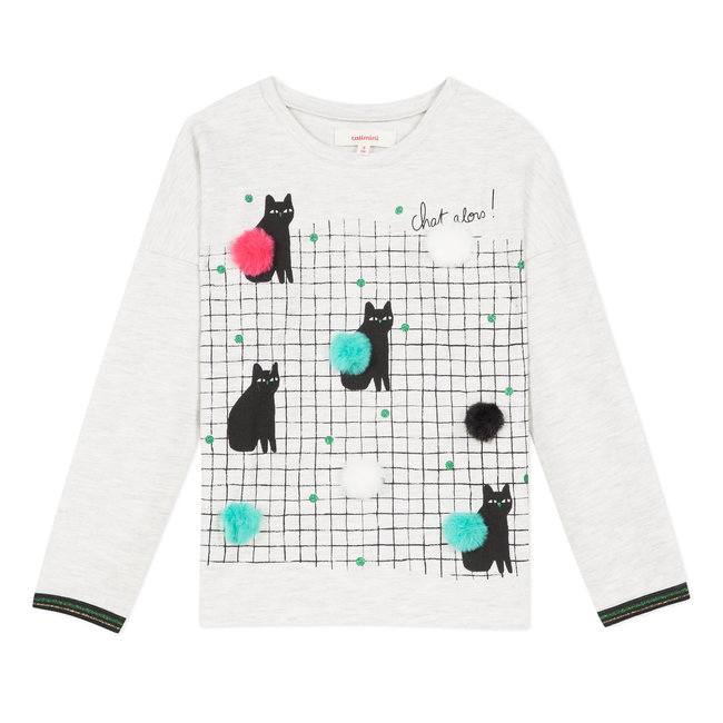 Mottled T-shirt with cats image and pompoms